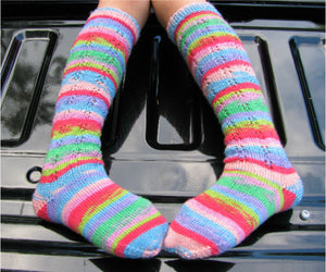 Tutti-Frutti Butterfly Knee Socks -- Knitting Patterns -- PDF Download