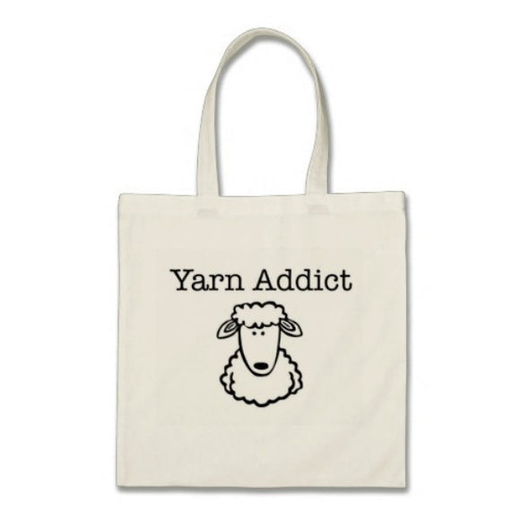 Yarn Addict (black) -- Tote Bag -- 100% Cotton