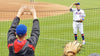 Todd Frazier plays catch with fans in the stands at Citi Field
