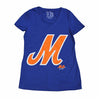 M Logo ladies v-neck - The 7 Line - For Mets fans, by Mets fans. An independently owned clothing/lifestyle brand supporting the Mets players and their fans.