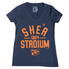 Shea Stadium Throwback ladies v-neck - The 7 Line - For Mets fans, by Mets fans. An independently owned clothing/lifestyle brand supporting the Mets players and their fans.