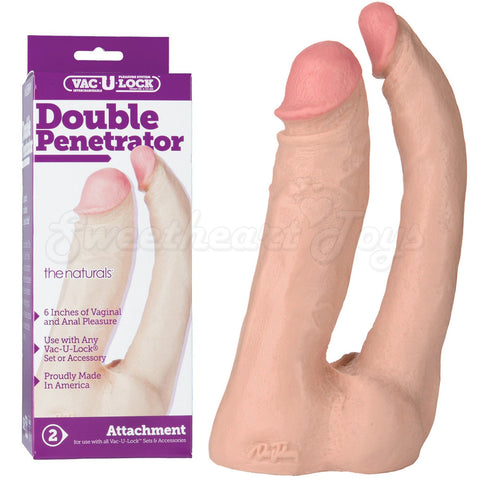 1015-04-BX Double Penetrator 6in Dong Dildo Flesh