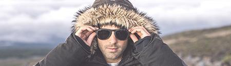 Polarized Aviator Sunglasses - man wearing Treeline polarized aviator sunglasses in the mountains