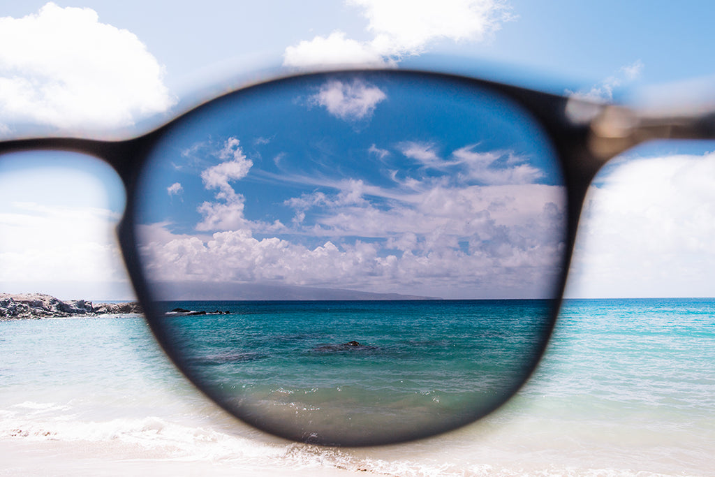 polarized sunglasses with ocean in back