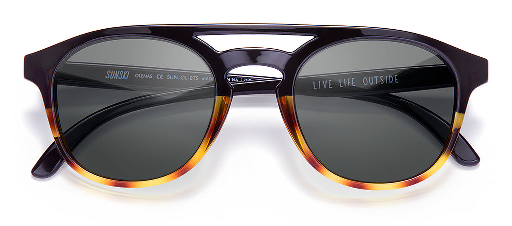 Sunski Olema Black Tortoise Slate Retro Sunglasses