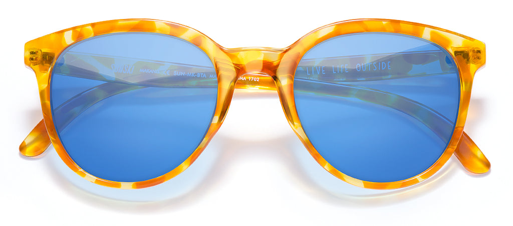 Sunski Makani Blonde Tortoise Aqua Retro Sunglasses