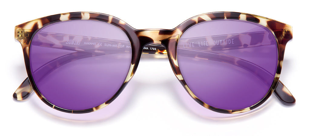 Sunski Makani Tortoise Purple Retro Sunglasses