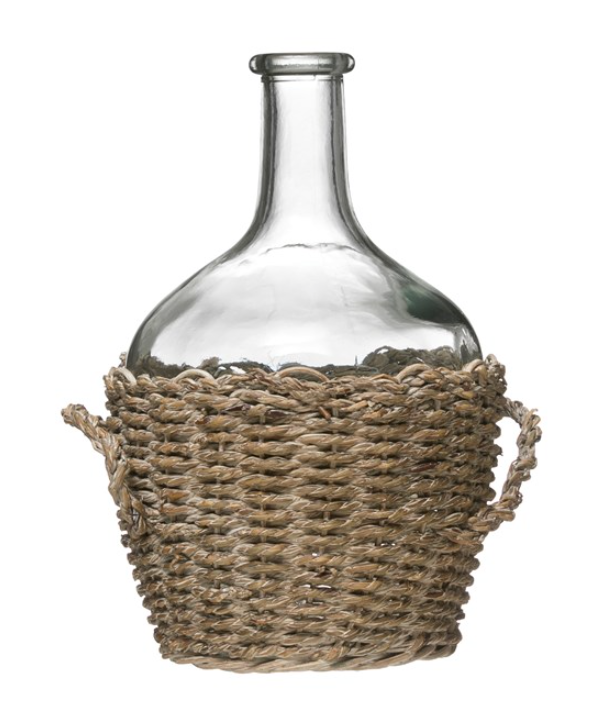 Glass Bottle in Woven Seagrass - Small