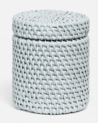Light Gray Rattan Canister