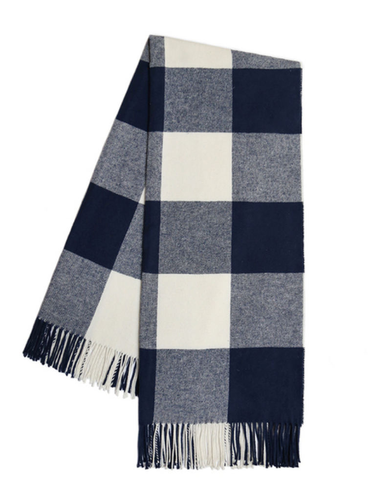 Navy Buffalo Check Throw