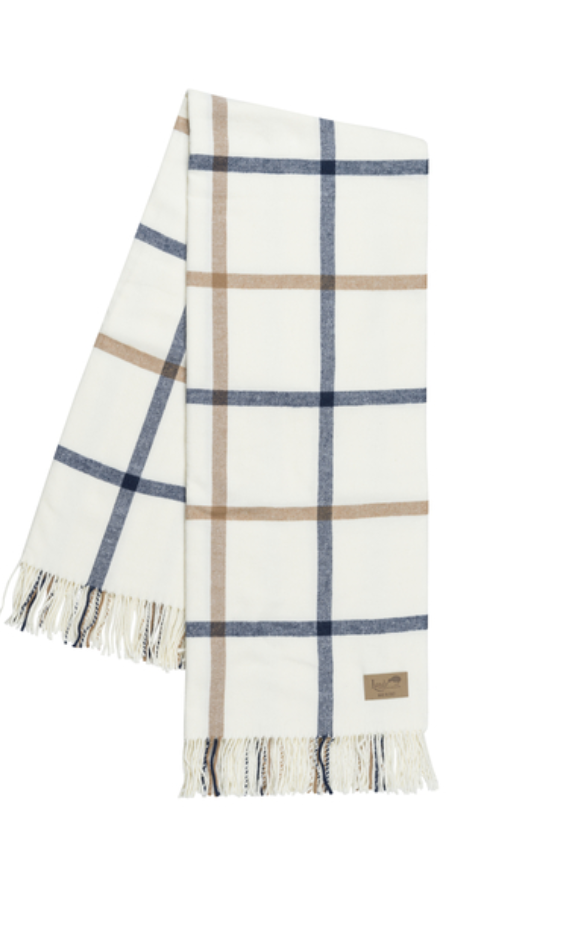 Navy and Carmel Tattersall Plaid Throw