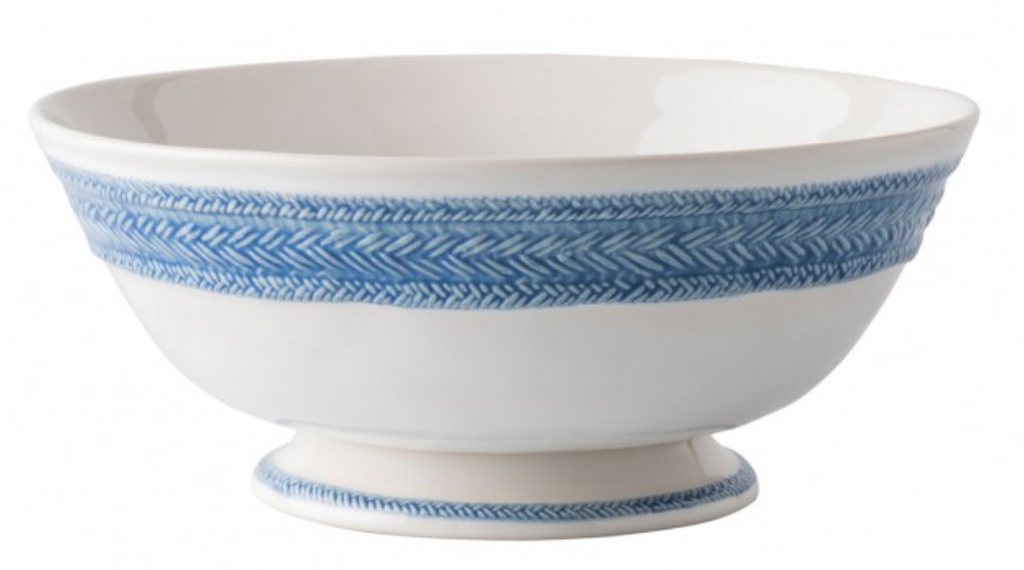"Le Panier White/Delft 11"" Footed Fruit Bowl"
