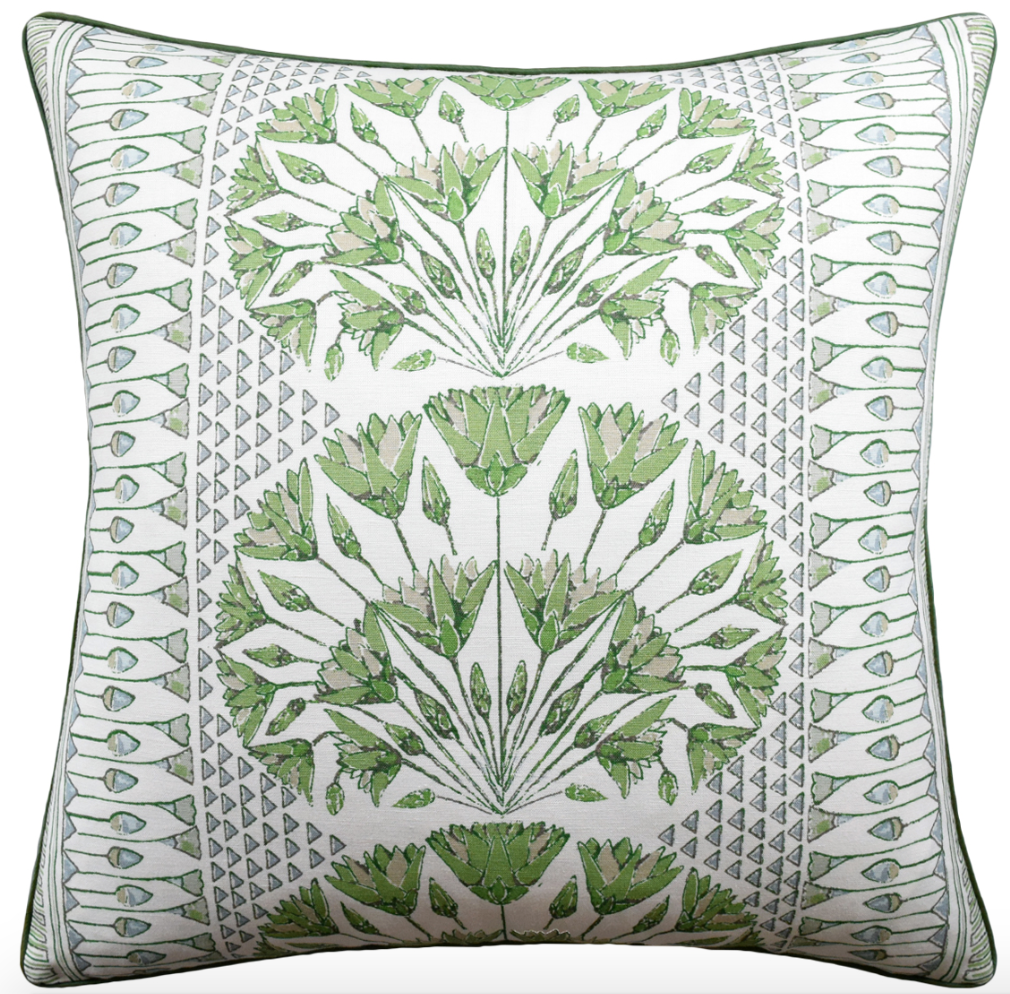 22x22 Pillow - Cairo Green/White