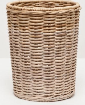 Two Tone Wicker Round Wastebasket