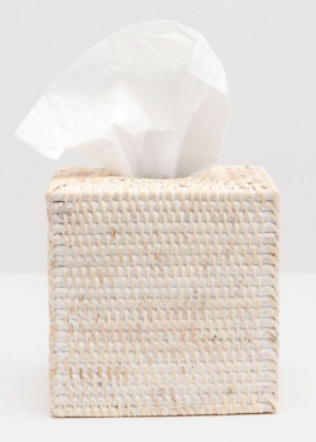 White Washed Rattan Tissue Box