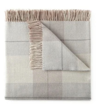 Plaid Fringe Throw - Grey