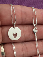 Mother Daughter Necklace Set - Mommy and Me Heart Necklace Set - Sterling Silver Necklace - Mother Jewelry - Mom Daughter Jewelry - Designs By Tera