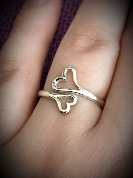 Heart Ring - Double Heart Ring - Sterling Silver - Adjustable - Love - Gift for Her - Valentine's Gift - Hearts - Designs By Tera