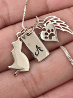 Cat Pet Memorial Gift - Personalized Pet loss Gifts Necklace - Kitten Cat - Jewelry - Cat Remembrance - Fur Baby - In Memorial - Sympathy - Designs By Tera