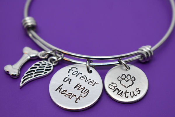 Personalized Pet loss Bracelet Dog Memorial sympathy gift Jewelry, Gift Forever in my heart, dog memorial bracelet, loss of dog, paw