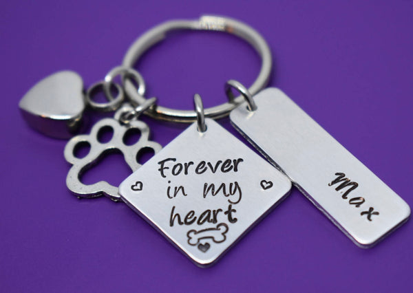 Cremation Pet Memorial Jewelry, Personalized Dog loss Keychain, Gift - Forever in my Heart - In Memory of Dog Dog Remembrance - Designs By Tera