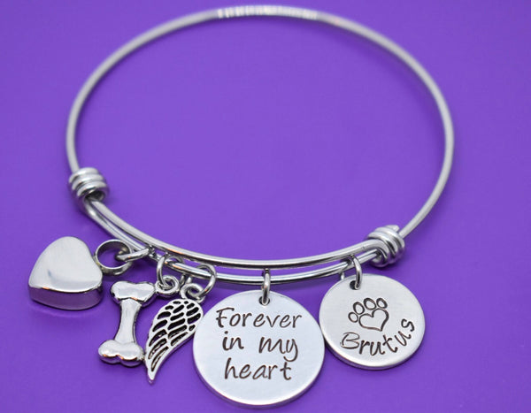 Cremation Pet Memorial Jewelry, Personalized Dog Memorial Bracelet - Pet Loss Gift, urn Forever in my heart, In memory of dog - Designs By Tera