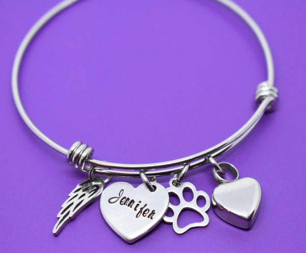 Pet Cremation Bracelet, Dog Memorial Jewelry Urn - Personalized Cat loss Gift Remembrance, Fur Baby - Designs By Tera