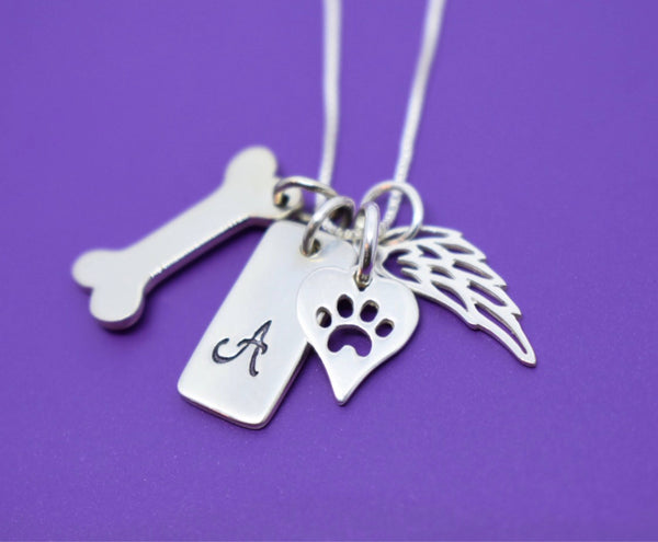 Pet Memorial Jewelry - Dog Memorial Necklace - Pet Loss Gift - Forever in my Heart - In Memory of Dog. Personalized Dog Remembrance - Designs By Tera