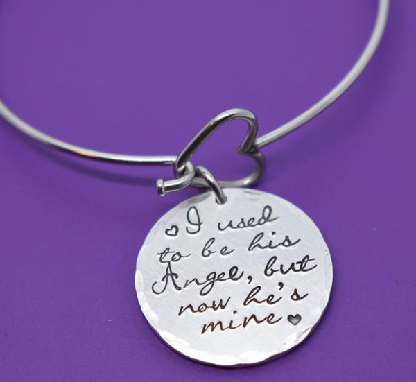 Father Memorial Bracelet, I used to be his angel now he's mine, Mother memorial jewelry, Sympathy Bracelet, Loss of Husband memorial Gift - Designs By Tera