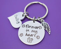 Pet Memorial Jewelry, Personalized Dog Memorial Keychain, Pet Loss Gift, Forever in my Heart - In Memory of Dog or cat Remembrance - Designs By Tera