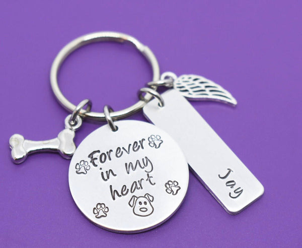Personalized Pet Memorial Jewelry, Dog Sympathy gift Keychain, Cat Loss, Forever in my Heart, In Memory - Designs By Tera