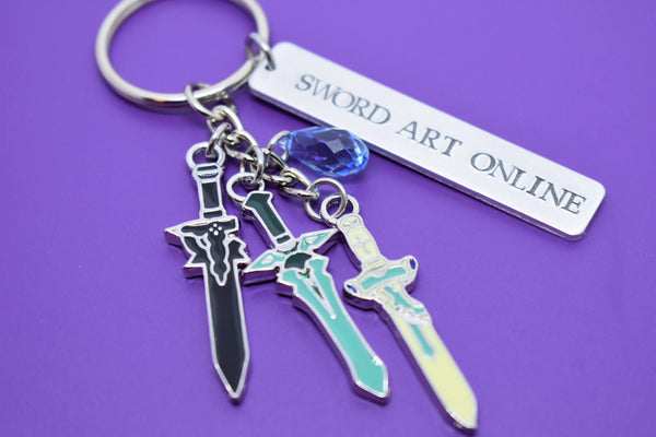 Sword Art Online Keychain - Kirito - Asuna - Yuis Heart - SAO - Hand stamped Keychain - SAO Cosplay - Anime - Dark Repulser - Elucidator - Designs By Tera