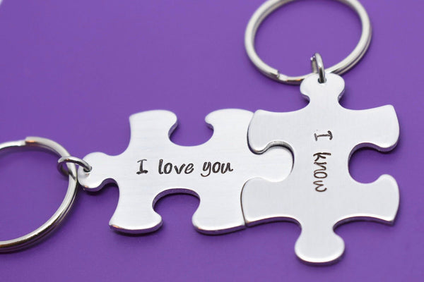 Boyfriend Gift Couples Keychain Set - Star Wars - His and Hers Keychain - I love you, I know - Puzzle Keychain - Custom Gift - Designs By Tera