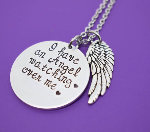 Memorial Jewelry Necklace - Remembrance Jewelry  - I have an angel watching over me - In Memory - Angel - Designs By Tera