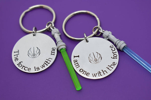 St wars gift Personalized Boyfriend Gift - Couples Keychain set - I am on with the Force - Star Wars - Jedi - The force is with me - Designs By Tera