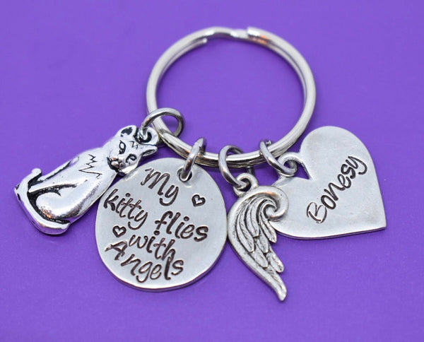 Cat Memorial Keychain - Pet Loss Gift Keychain - Personalized Pet Memorial Jewelry - Cat Loss Keychain - Personalized Jewelry - Ange - Designs By Tera
