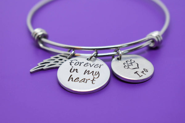 Pet Memorial Jewelry, Dog loss Bracelet, Cat sympathy Gift, Forever in my Heart, bangle - Designs By Tera