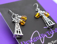 Oilfield Wife, Oilfield Girlfriend, Oil Derrick Earrings with Birthstones Customized Jewelry Personalized Jewelry For Ladies in Oil - Designs By Tera