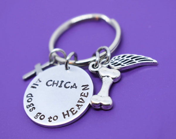 Personalized Pet Memorial Keychain, Dog loss sympathy gift, All dogs go to heaven, Remembrance - Designs By Tera