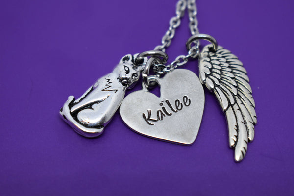 Cat Memorial Jewelry, Personalized Pet loss Gifts Necklace, Kitten, Sympathy, Angel wing - Designs By Tera