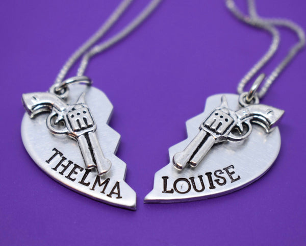 Thelma and Louise Necklace Set - Best friends - Thelma and Louise Jewelry - Necklace - Partners in Crime Jewelry - Designs By Tera