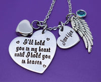 Cremation Memorial Jewelry Necklace - Urn -I'll hold you in my heart until i hold you in heaven - Memorial Jewelry - Loss of Loved One Keeps - Designs By Tera