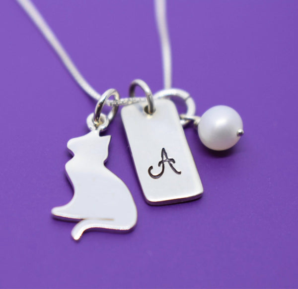 Cat Pet Memorial Necklace - Personalized Pet Memorial Jewelry - Cat Loss Necklace - Pet Memorial - Sterling Silver - Designs By Tera