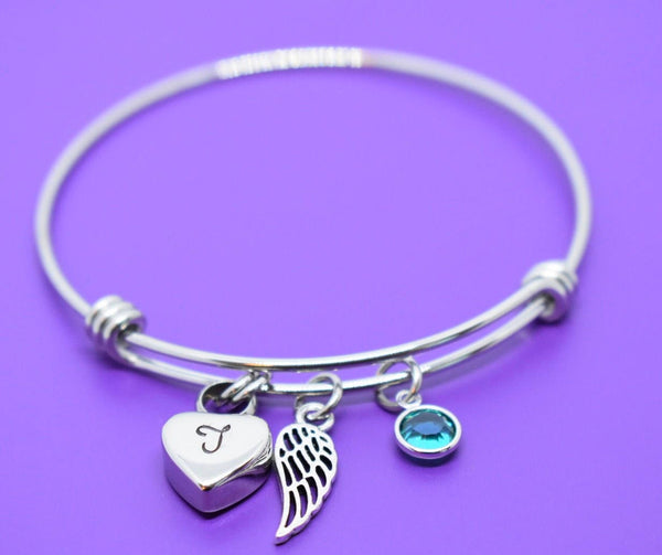 Urn Memorial cremation Jewelry Bracelet - Remembrance Bracelet - Sympathy Gift - Memorial Necklace - Angel Wing - Designs By Tera