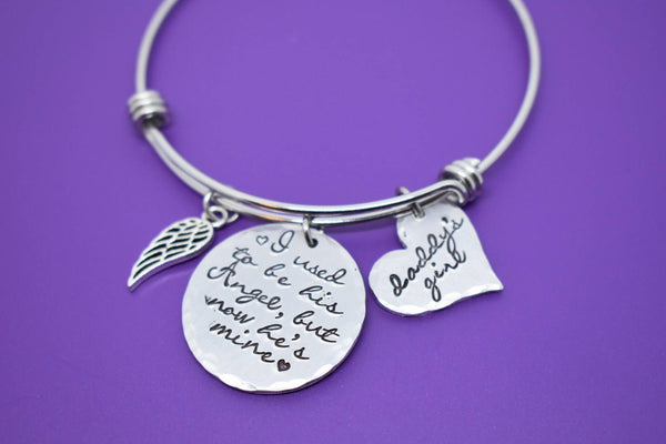 Memorial jewelry dad, remembrance bracelet, sympathy gift,  I used to be his angel now he's mine, husband - Designs By Tera