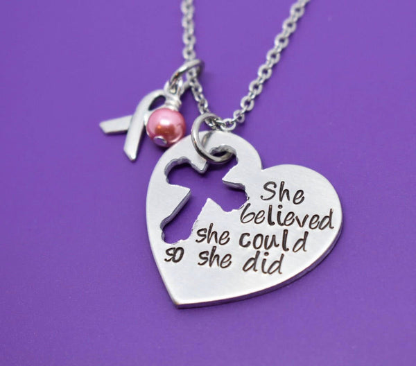 Breast Cancer Necklace - Breast Cancer Jewelry - She believed she could, so she did - Cancer Treatment Gift - Cancer Survivor Gift - - Designs By Tera
