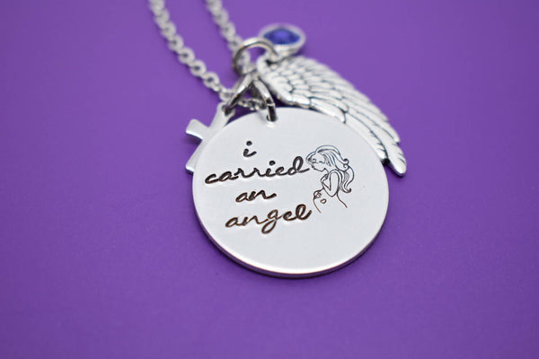 Memorial Jewelry child loss, Miscarriage Necklace - Miscarriage Jewelry - Memorial Necklace - Sympathy gift - Awareness - I carried an angel - Designs By Tera