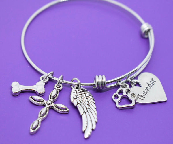 Pet Memorial Jewelry - Dog Memorial Bracelet - Pet Loss Gift - Forever in my Heart - In Memory of Dog. Personalized Dog Remembrance - Designs By Tera