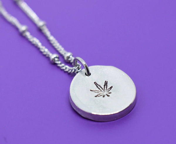 Marijuana  Mommy necklace - Hemp mom - Flower - Bud  - Pot - hand made jewelry - Designs By Tera