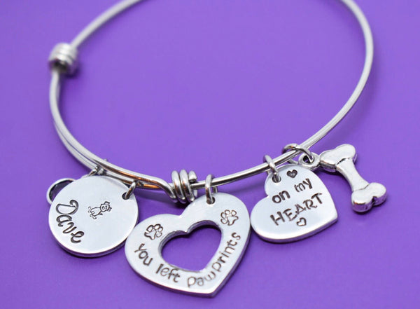 Pet Memorial Jewelry, Personalized Dog Memorial Bracelet, Pet Loss Gift, you left paw prints on my heart, bangle - Designs By Tera